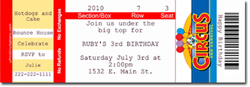 Design online, download jpg immediately DIY circus ticket birthday party Invitations