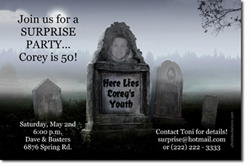 Design online, download jpg immediately DIY tombstone birthday party invitations