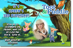 Design online, download jpg immediately DIY toot and puddle party birthday Invitations