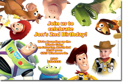 Design online, download jpg immediately DIY toy story birthday Invitations