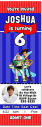 Design online, download jpg immediately DIY toy story ticket birthday party Invitations