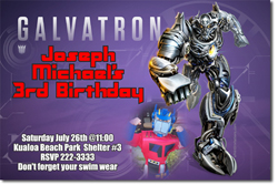 Design online, download jpg immediately DIY transformers galvatron birthday party Invitations