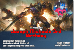 Design online, download jpg immediately DIY transformers 4 birthday party Invitations
