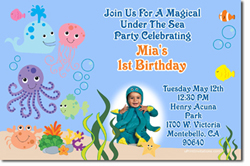 Design online, download jpg immediately DIY under the sea babies swimming pool birthday party Invitations