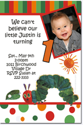 Design online, download jpg immediately DIY very hungry caterpillar birthday party Invitations