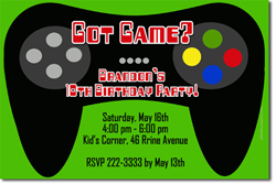 Design online, download jpg immediately DIY video games birthday party Invitations
