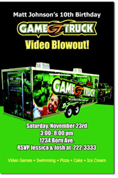 Design online, download jpg immediately DIY video game truck birthday party Invitations