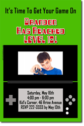 Design online, download jpg immediately DIY video gameboy birthday party Invitations