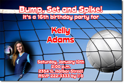 Design online, download jpg immediately DIY volleyball birthday party Invitations