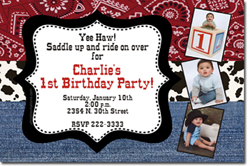 Design online, download jpg immediately DIY western party birthday Invitations
