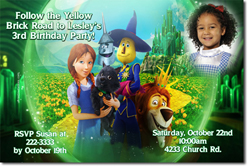 Design online, download jpg immediately DIY wizard of oz legends party birthday Invitations