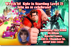 Design online, download jpg immediately DIY wreck it ralph birthday party Invitations