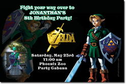 Design online, download jpg immediately DIY zelda birthday party Invitations