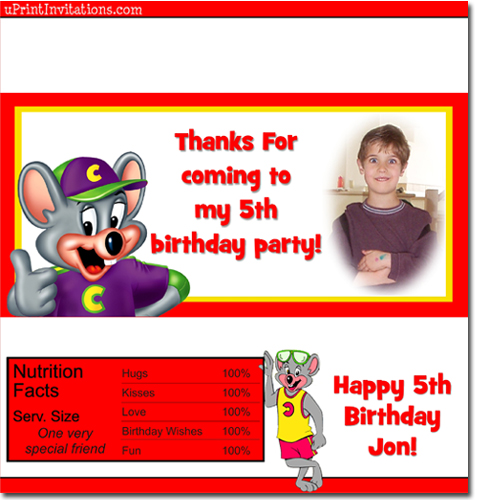 image regarding Chuck E Cheese Printable Invitations identified as Chuck E. Cheese Birthday Invites, Sweet Wrappers, Thank