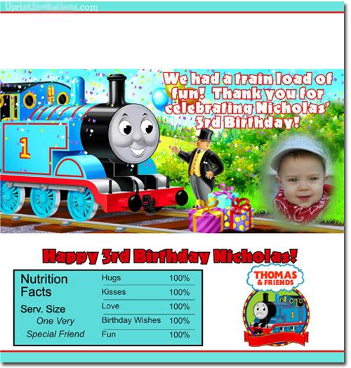 Thomas The Tank Engine Birthday Invitations Candy Wrappers Thank - Birthday invitation card thomas and friends